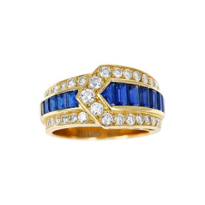 Van Cleef Arpels VAN CLEEF ARPELS SAPPHIRE AND DIAMOND ARROW BAND RING 18K YELLOW