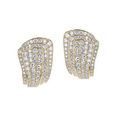Van Cleef Arpels VAN CLEEF ARPELS THREE STEP COCKTAIL EARRINGS WITH 3 20 CARAT DIAMONDS 18K