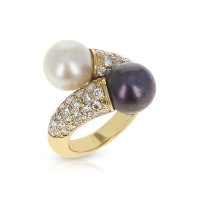Van Cleef Arpels VAN CLEEF ARPELS TOI ET MOI 9 5MM PEARL AND DIAMOND RING 18K YELLOW GOLD