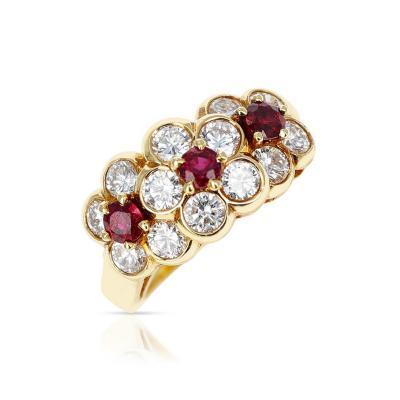 Van Cleef Arpels VAN CLEEF ARPELS TRI FLORAL RUBY AND DIAMOND RING 18K YELLOW GOLD