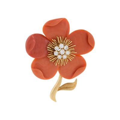 Van Cleef Arpels VCA Paris Mid 20th Century Coral Diamond and Gold Clematis Brooch