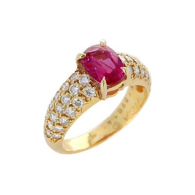 Van Cleef Arpels Van Cleef Arpels 1 Carat Natural No Heat Ruby and Diamond Yellow Gold Ring