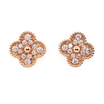 Van Cleef Arpels Van Cleef Arpels 18 Karat Yellow Rose Gold Alhambra Diamond Earrings