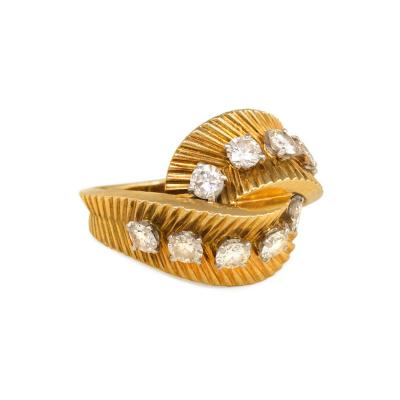 Van Cleef Arpels Van Cleef Arpels 1950s Gold and Diamond Bypass Ring