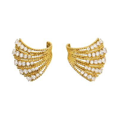 Van Cleef Arpels Van Cleef Arpels 1950s Gold and Diamond Earrings