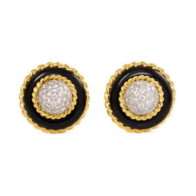 Van Cleef Arpels Van Cleef Arpels 1960s Onyx Gold and Diamond Cluster Earrings