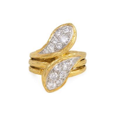 Van Cleef Arpels Van Cleef Arpels 1970s Gold and Diamond Stylized Double Serpent Ring
