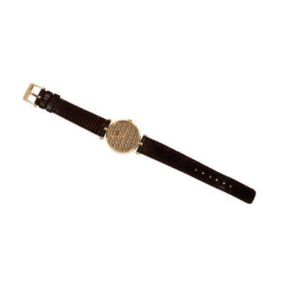Van Cleef Arpels Van Cleef Arpels 1970s Gold and Enamel Wrist Watch with Logo Patterned Dial