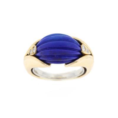 Van Cleef Arpels Van Cleef Arpels Carved Lapis Diamond Gold Ring