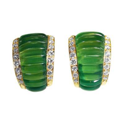 Van Cleef Arpels Van Cleef Arpels Chrysoprase Diamond Gold Earclips