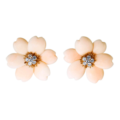Van Cleef Arpels Van Cleef Arpels Coral Diamond Gold Rose de Noel Earclips