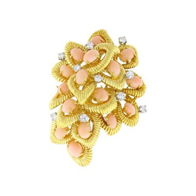 Van Cleef Arpels Van Cleef Arpels Coral and Diamond Brooch