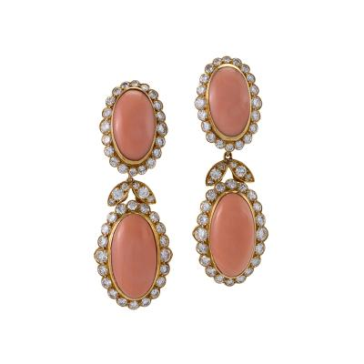 Van Cleef Arpels Van Cleef Arpels Coral and Diamond Drop Earrings