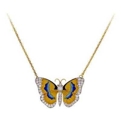 Van Cleef Arpels Van Cleef Arpels Diamond Enamel Butterfly Necklace Brooch