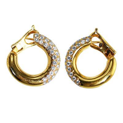 Van Cleef Arpels Van Cleef Arpels Diamond Gold Hoop Earclips