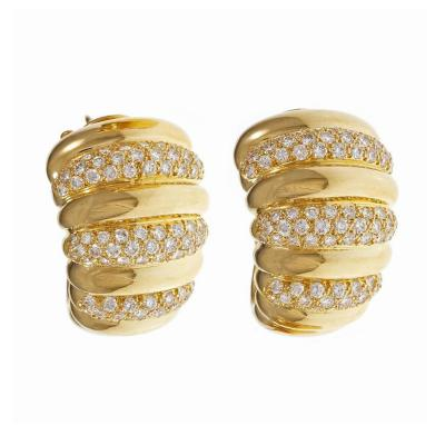 Van Cleef Arpels Van Cleef Arpels Diamond Gold Hoop Earrings