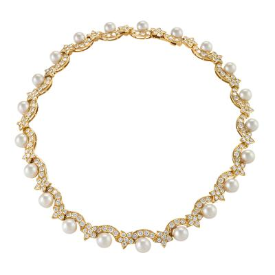 Van Cleef Arpels Van Cleef Arpels Diamond Pearl and Gold Star Necklace