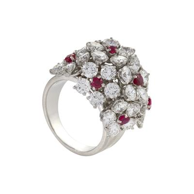 Van Cleef Arpels Van Cleef Arpels Diamond Ruby Flower Cluster Ring