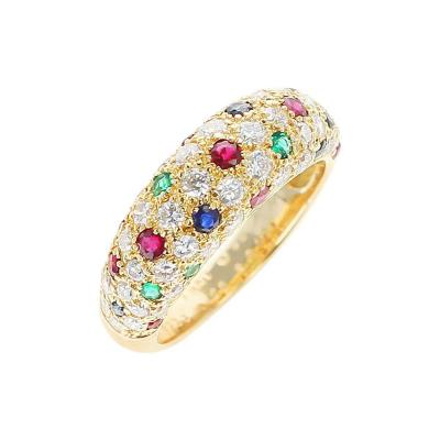 Van Cleef Arpels Van Cleef Arpels Diamond Ruby Sapphire Emerald Ring 18 Karat Yellow Gold