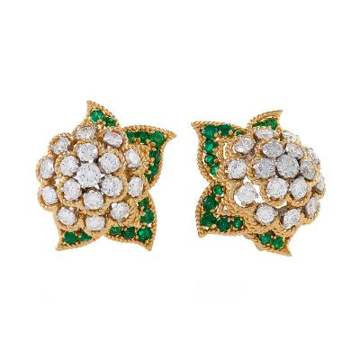 Van Cleef Arpels Van Cleef Arpels Diamond and Emerald Cluster Earrings