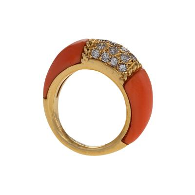Van Cleef Arpels Van Cleef Arpels Diamond and Pink Coral Philippine Ring