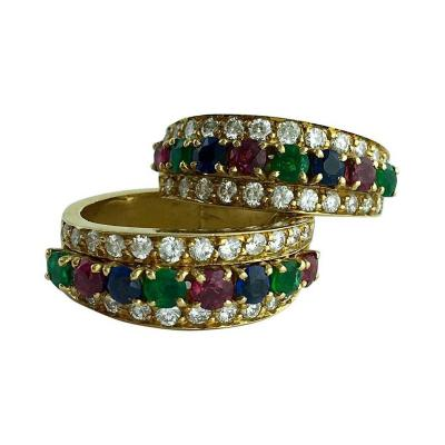 Van Cleef Arpels Van Cleef Arpels Emerald Sapphire Ruby Diamond Gold Earrings