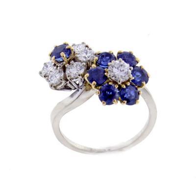 Van Cleef Arpels Van Cleef Arpels Fleurette Diamond and Sapphire Double Flower Yellow Gold Ring