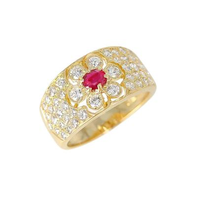 Van Cleef Arpels Van Cleef Arpels Floral Ruby and Diamond Ring 18 Karat with Original VCA Box