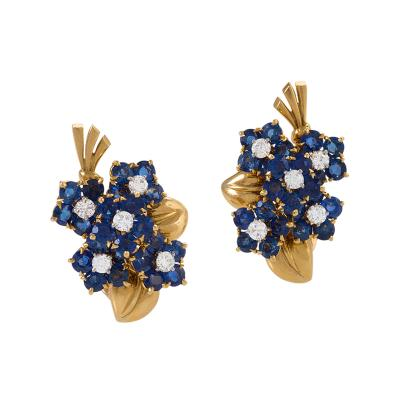 Van Cleef Arpels Van Cleef Arpels French Retro Gold Diamond and Sapphire Bouquet Earrings