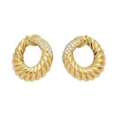 Van Cleef Arpels Van Cleef Arpels Gold and Diamond Clip on Hoops