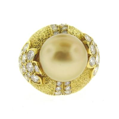 Van Cleef Arpels Van Cleef Arpels Golden South Sea Pearl and Diamond Ring