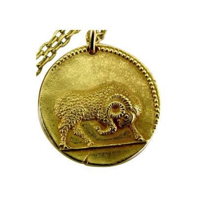 Van Cleef Arpels Van Cleef Arpels Large Gold Zodiac Aries Necklace French Circa 1970