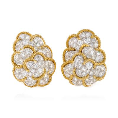 Van Cleef Arpels Van Cleef Arpels Late 20th Century Diamond Gold and Platinum Cloud Earrings