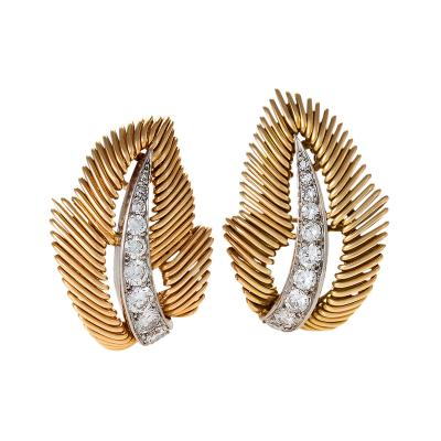 Van Cleef Arpels Van Cleef Arpels Mid 20 Century Diamond Platinum and Gold Leaf Earrings