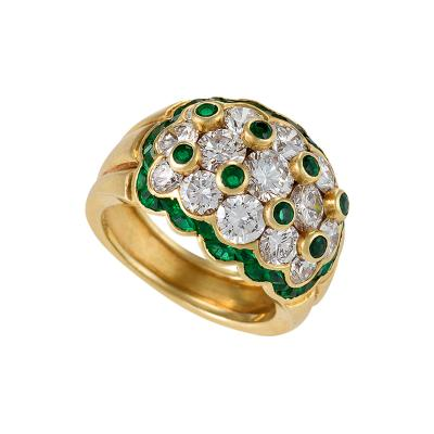 Van Cleef Arpels Van Cleef Arpels Mid 20th Century Diamond Emerald and Gold Ring