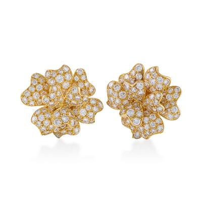 Van Cleef Arpels Van Cleef Arpels Mid 20th Century Diamond and Gold Blossom Earrings