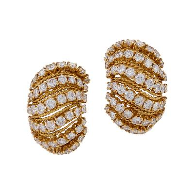 Van Cleef Arpels Van Cleef Arpels Mid 20th Century Diamond and Gold Bomb Coucous Earrings