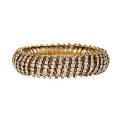 Van Cleef Arpels Van Cleef Arpels Mid 20th Century Diamond and Gold Couscous Bracelet