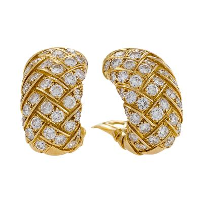 Van Cleef Arpels Van Cleef Arpels Mid 20th Century Diamond and Gold Earrings