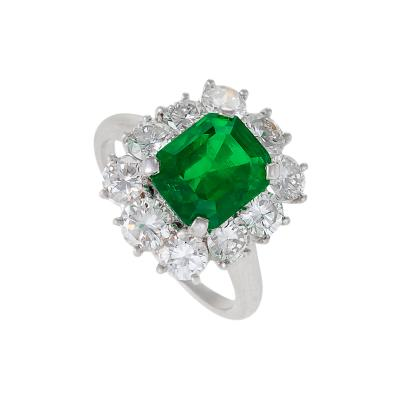 Van Cleef Arpels Van Cleef Arpels Mid 20th Century Emerald Diamond and Platinum Cluster Ring
