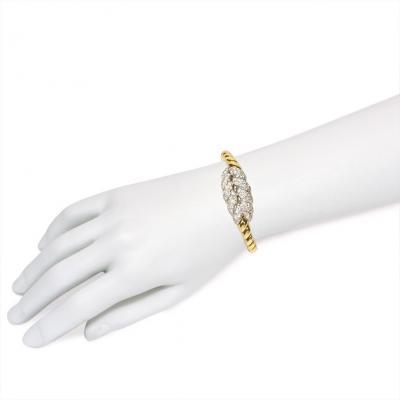 Van Cleef Arpels Van Cleef Arpels Mid Century Gold and Diamond Covered Bracelet Watch