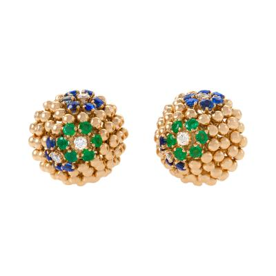 Van Cleef Arpels Van Cleef Arpels Mid Century Jeweled Gold Earrings