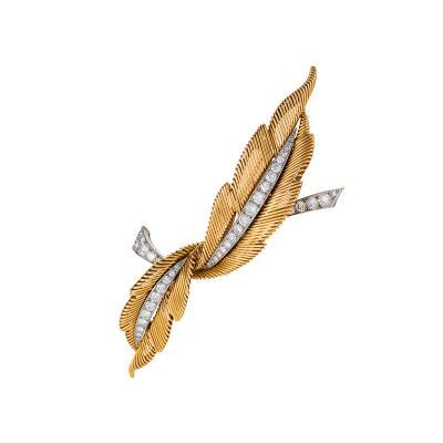 Van Cleef Arpels Van Cleef Arpels Mid Century Two Feathers Diamond Gold Platinum Brooch