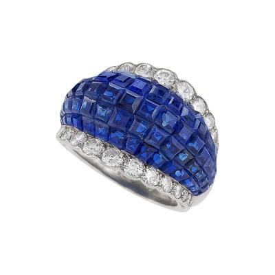 Van Cleef Arpels Van Cleef Arpels Mystery Set Sapphire Diamond and Platinum Ring