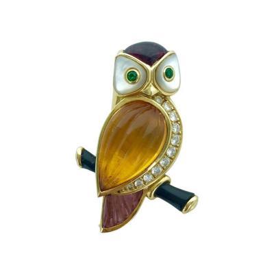 Van Cleef Arpels Van Cleef Arpels Owl Amethyst Citrine Diamond Emerald Brooch Clip