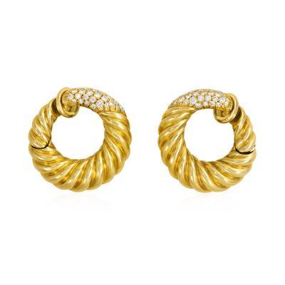 Van Cleef Arpels Van Cleef Arpels Paris 1970s Gold and Diamond Ribbed Hoop Clip Earrings
