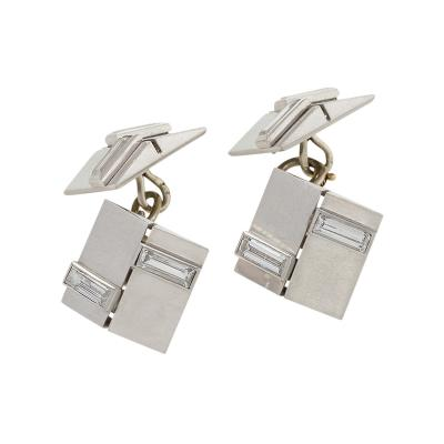 Van Cleef Arpels Van Cleef Arpels Paris Art Deco Diamond and Platinum Cufflinks