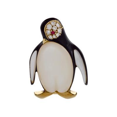 Van Cleef Arpels Van Cleef Arpels Paris Diamond Ruby and Mother of Pearl Penguin Brooch