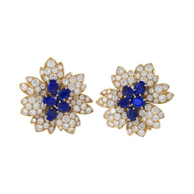 Van Cleef Arpels Van Cleef Arpels Paris Estate Diamond Blue Sapphire and Gold Earrings