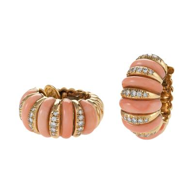 Van Cleef Arpels Van Cleef Arpels Paris Mid 20th Century Coral Diamond and Gold Earrings